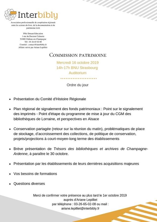Prochaine Commission Patrimoine d'Interbibly le 16 octobre 2019