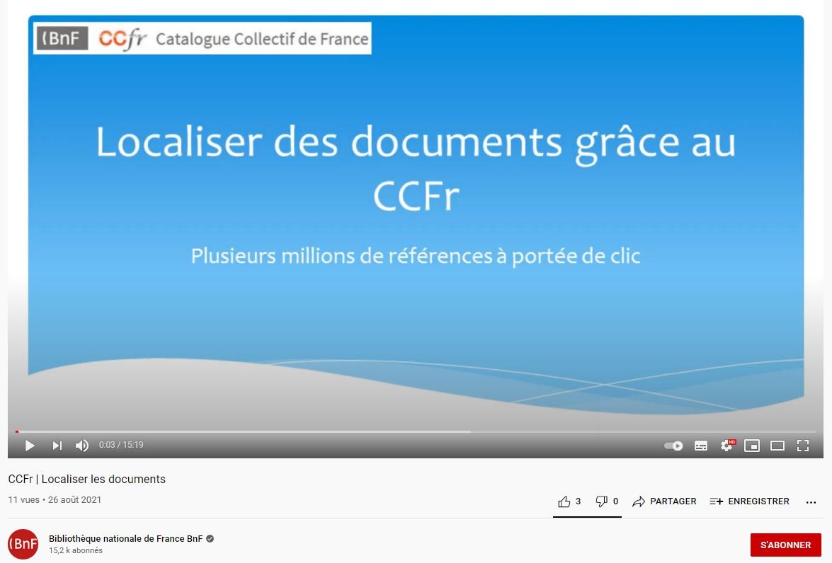 Le CCFr, nouvelle vidéo de présentation | Localiser des documents grâce au CCFr