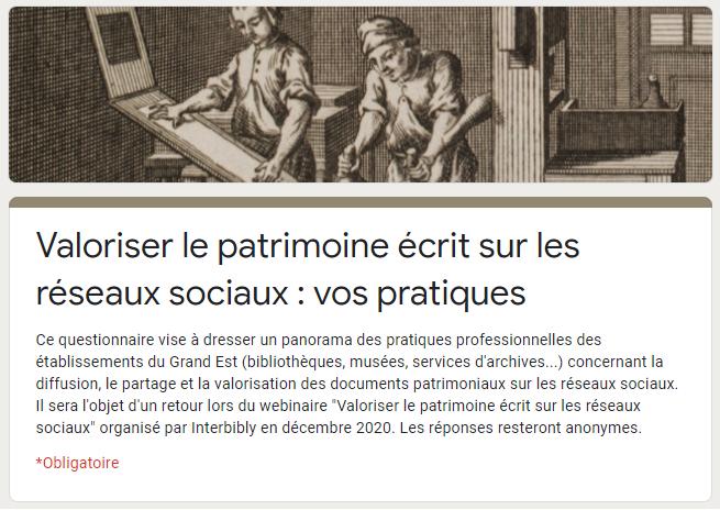 Enquête en ligne : valoriser le patrimoine écrit sur les réseaux sociaux, vos pratiques