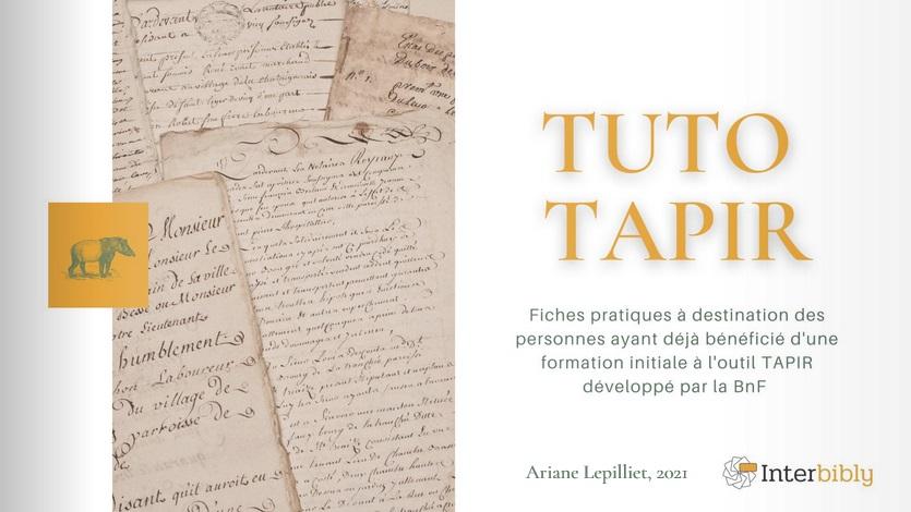 Session de mise à jour TAPIR (en ligne)