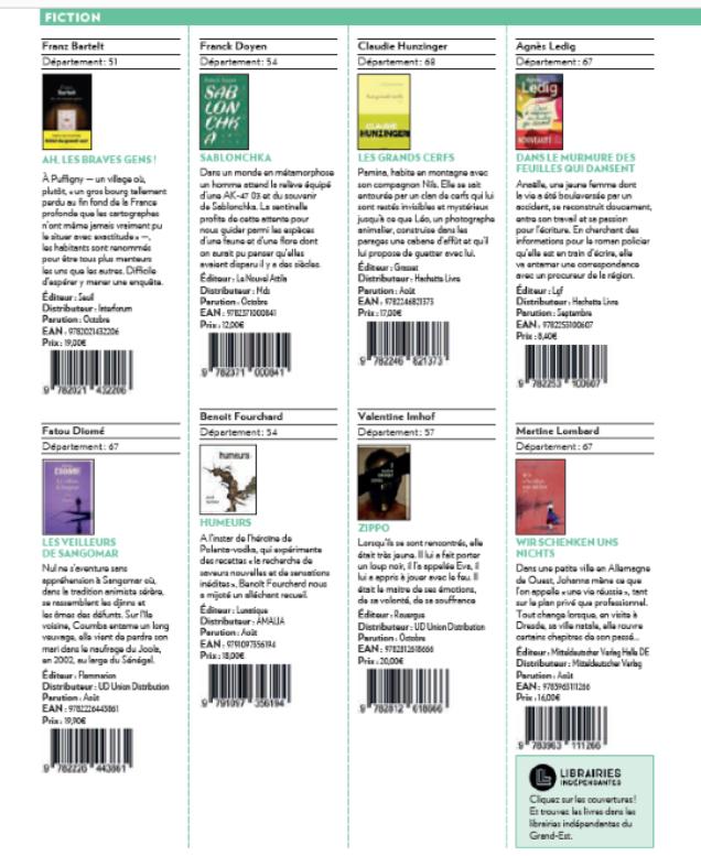 Création : les publications des auteurs Grand Est en 2018 et 2019