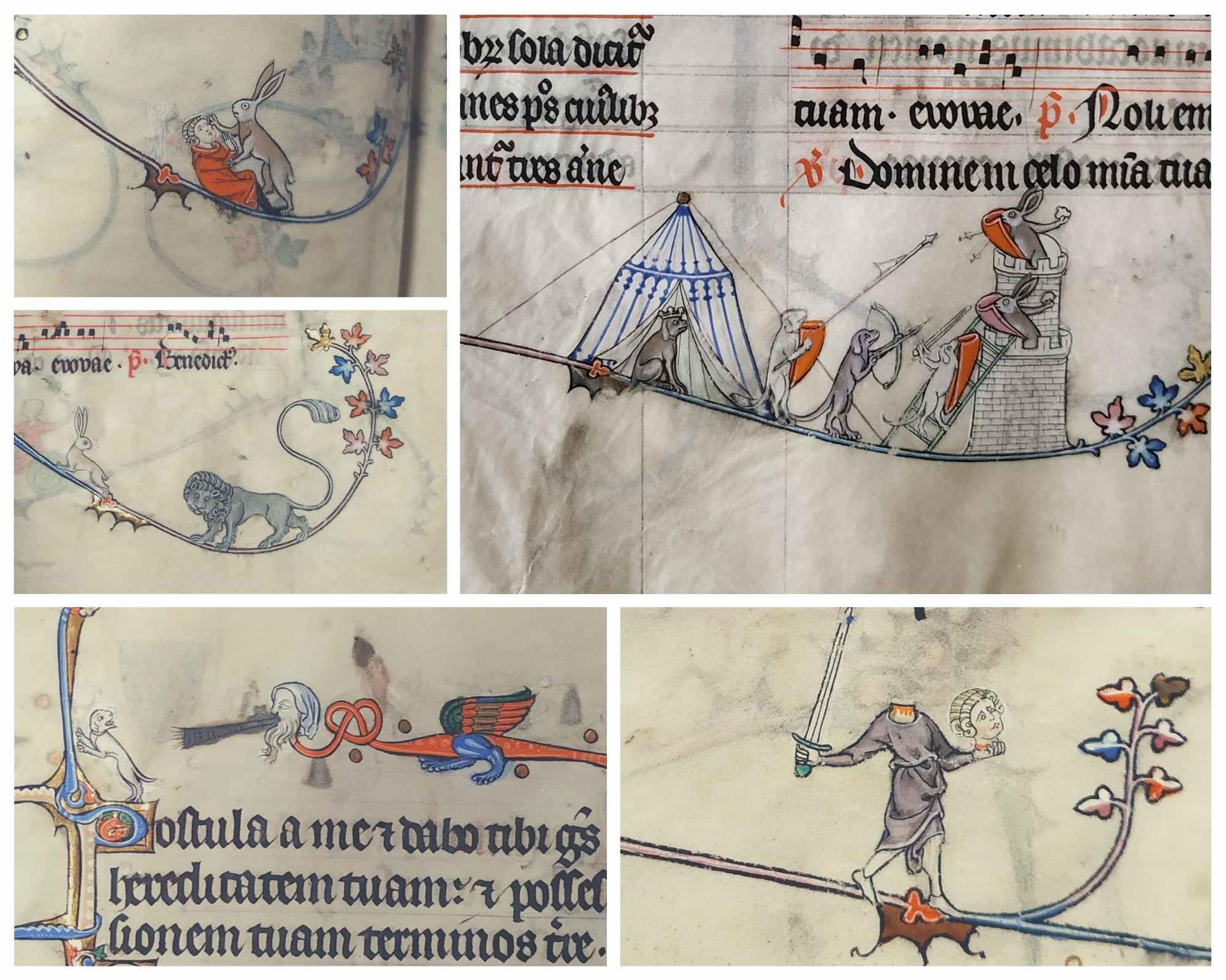L'imaginaire débordant des drôleries peuplant les marges d'un luxueux manuscrit médiéval