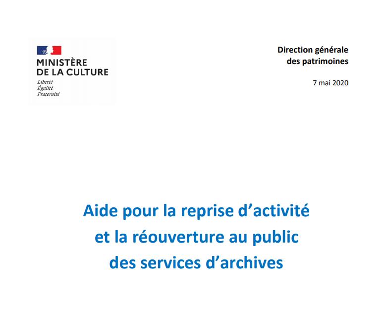 Aide pour la reprise d'activité et la réouverture au public des services d'archives